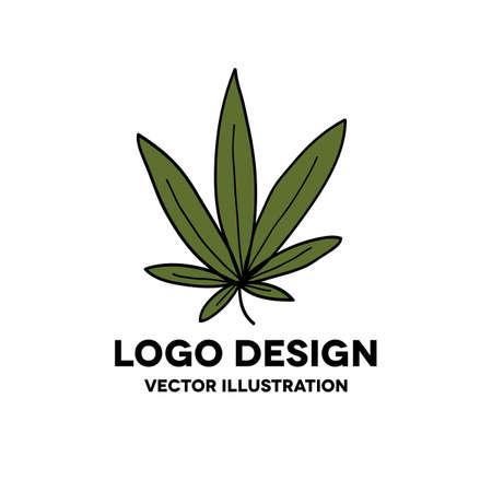 marijuana leaf doodle icon, vector color illustration
