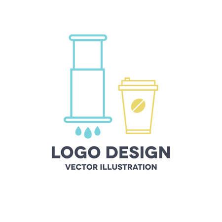 aeropress and coffee cup icon, vector color illustration 向量圖像