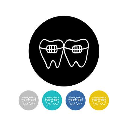 dental braces doodle icon, vector color illustration