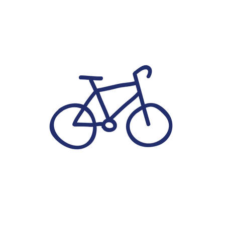 bicycle doodle vector icon, vector color illustration 向量圖像