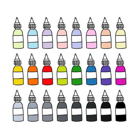 tattoo ink bottle doodle icon, vector color illustration