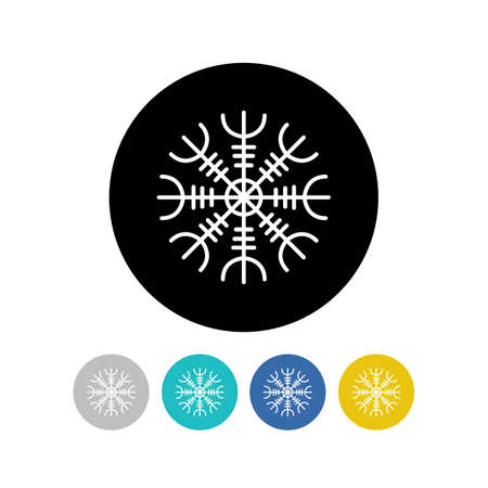 Aegishjalmur, Helm of awe helm of terror, Icelandic magical staves, isolated on white, vector illustration, vector color illustration
