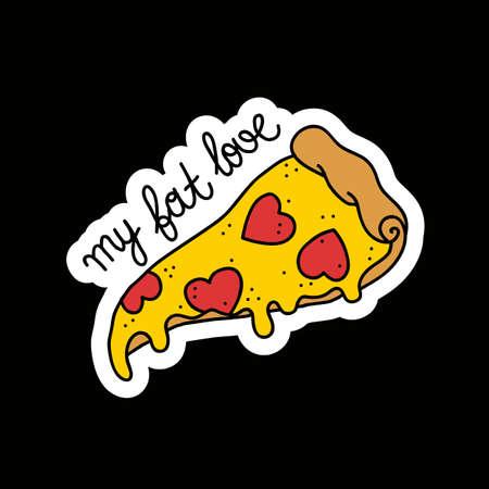 pizza doodle illustration sticker, vector color illustration 向量圖像