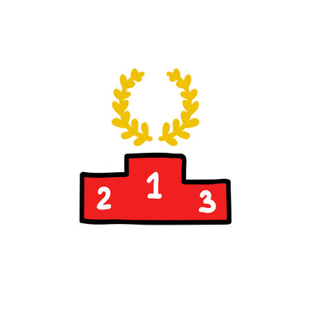 winners podium doodle icon, vector color illustration