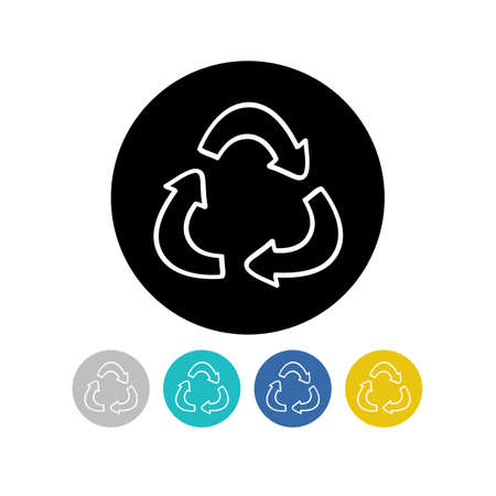 recycling symbol doodle icon, vector color illustration