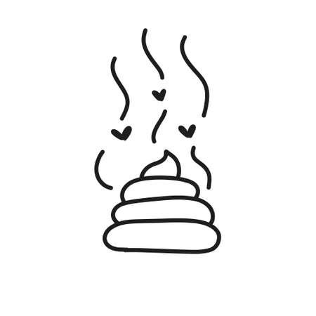poo doodle icon, vector line illustration Illustration