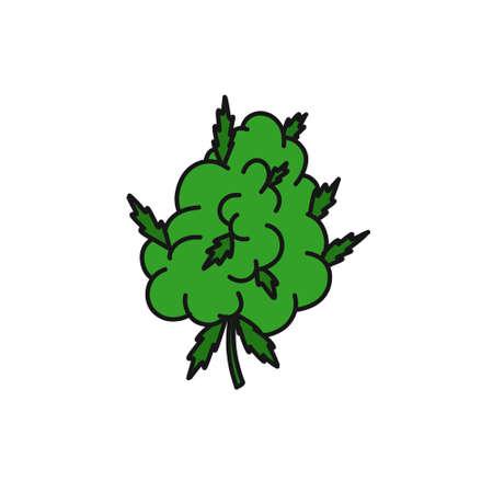 marijuana bud doodle icon, vector color illustration