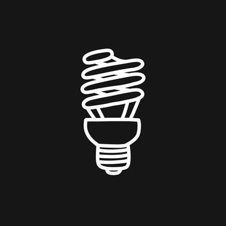 fluorescent lamp doodle icon, vector line illustration Illustration