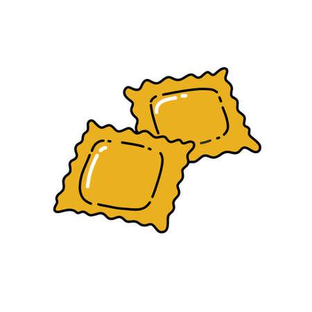 ravioli doodle icon, vector color illustration 일러스트