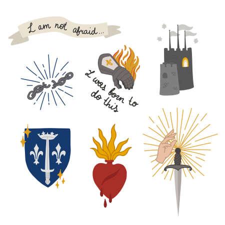 Joan of Arc doodle set icons, vector color illustration