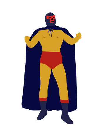 luchador mexican wrestler doodle icon, vector color illustration Ilustracja