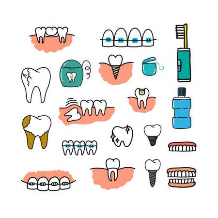 dental doodle set icons, vector color illustration