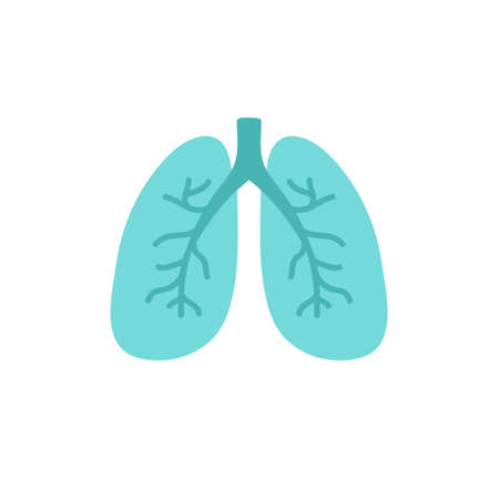 lungs doodle icon, vector color illustration