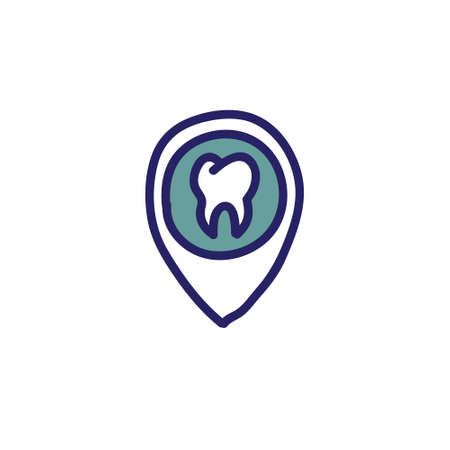 map pointer tooth doodle icon, vector color illustration Ilustração