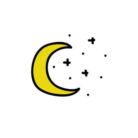 moon doodle icon, vector color illustration