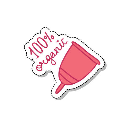 menstrual cup doodle icon, vector color illustration