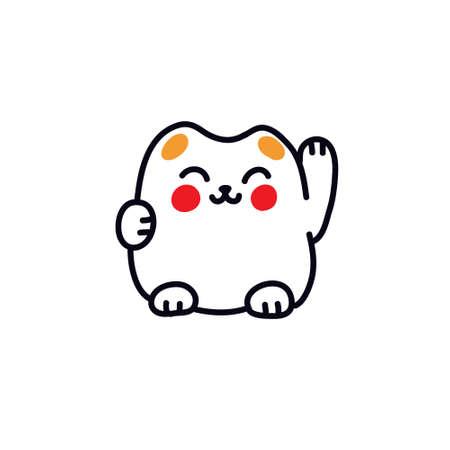 maneki neko doodle icon, vector color illustration