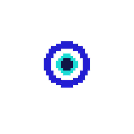fatima eye pixel art icon, pixel color illustration