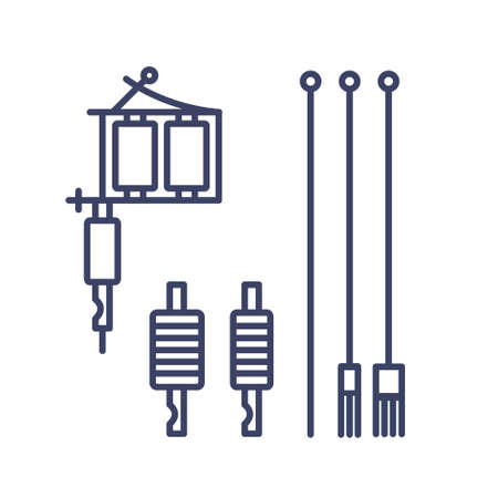 devices for tattoo machine line icons, vector simple illustration