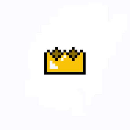 crown pixel art icon, pixel color illustration Stok Fotoğraf