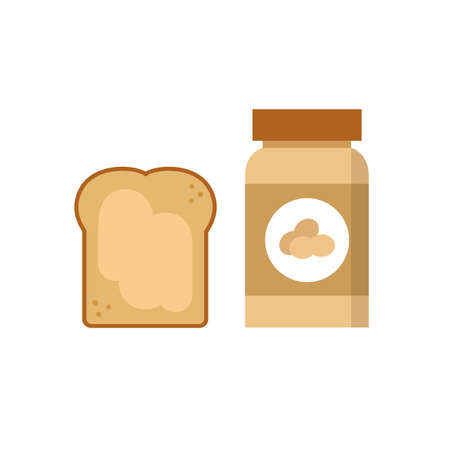 toast with peanut butter icons illustration