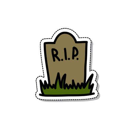 gravestone doodle icon, vector color illustration Vector Illustration
