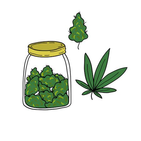 marihuana doodle icon, vector color illustration