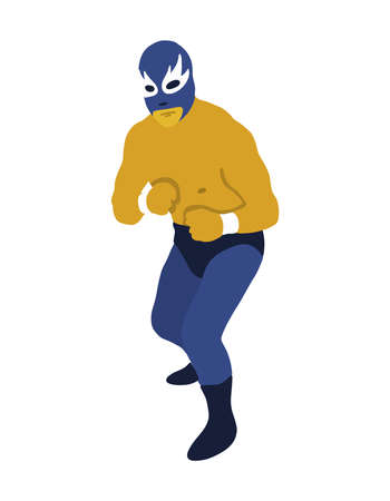luchador mexican wrestler doodle icon, vector color illustration  イラスト・ベクター素材