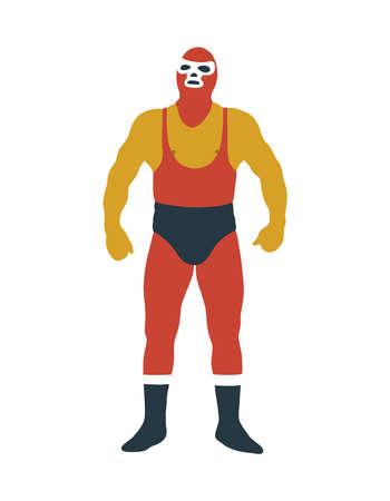 luchador mexican wrestler doodle icon, vector color illustration