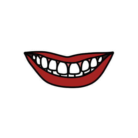 mouth doodle icon, vector color illustration