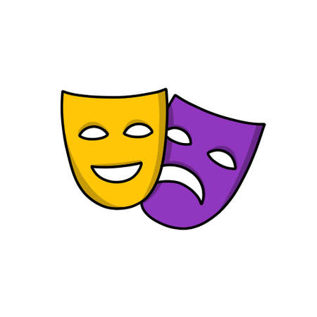 theater masks, mardi gras doodle icon, vector color illustration