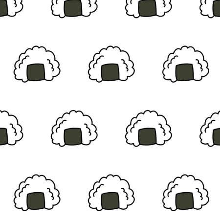 onigiri seamless doodle pattern, vector color illustration