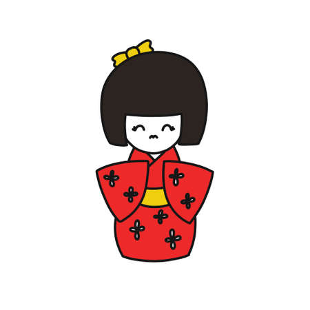 kokeshi, japanese traditional doll doodle icon, vector color illustration Illustration