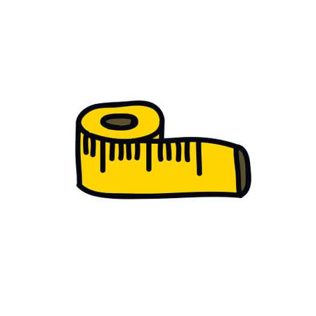 tape measure doodle icon, vector color illustration Vettoriali