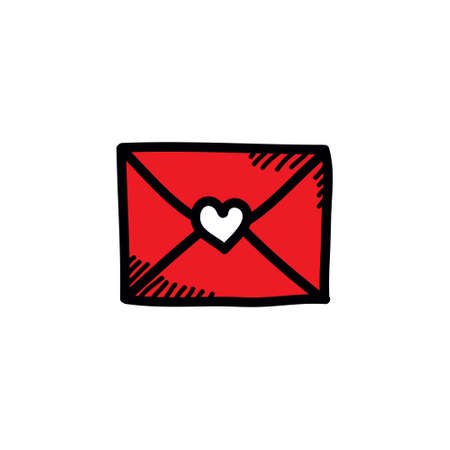 love letter doodle icon, vector color illustration