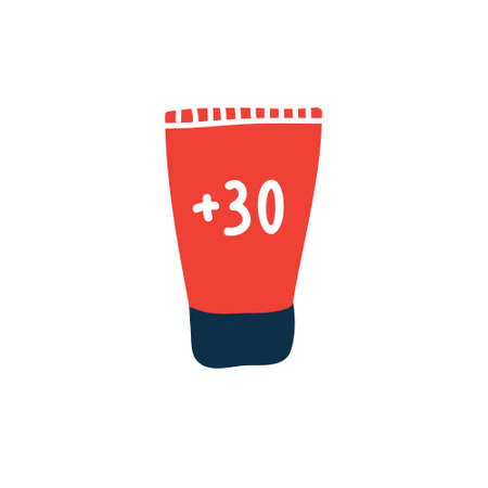 sunscreen doodle icon, vector color illustration