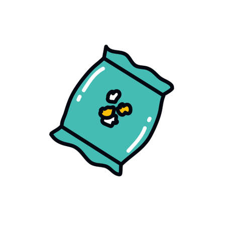 pack of popcorn doodle icon, vector color illustration