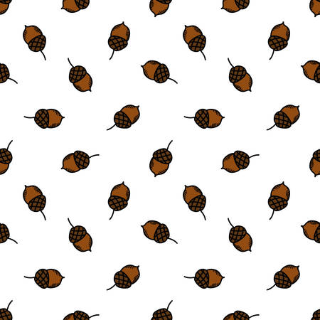 acorn seamless doodle pattern, vector color illustration