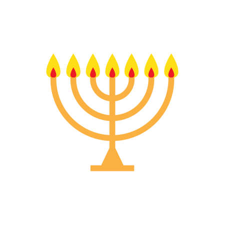 menorah flat icon, vector color illustration