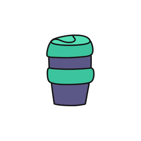 reusable coffee cup doodle icon, vector color illustration