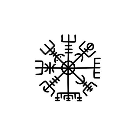 Vegvisir scandinavian symbol doodle icon, vector line illustration
