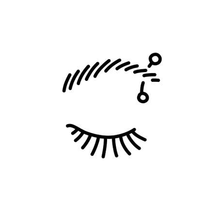 eyebrow piercing doodle icon, vector line illustration
