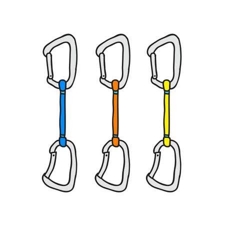 climbing guy doodle icon, vector color illistration