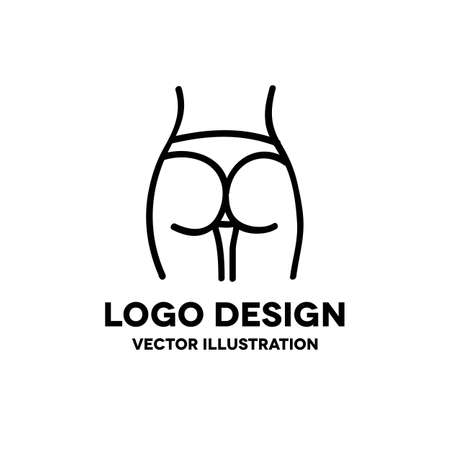 female hips and waist doodle icon, vector color illistration