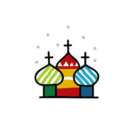Moscow Kremlin doodle illustration, vector color illistration Иллюстрация