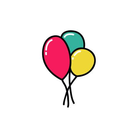 air ballons doodle icon, vector color illistration