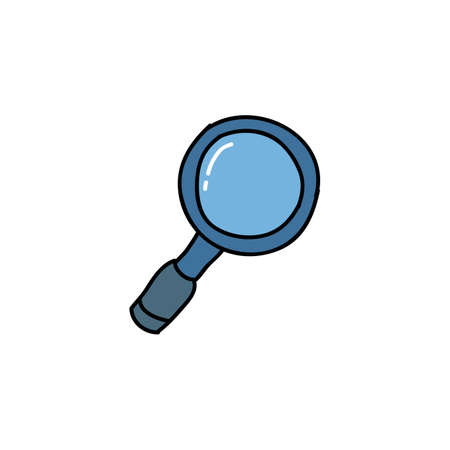 magnifying glass doodle icon, vector color illistration