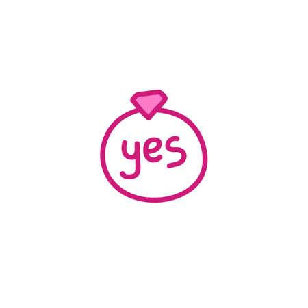 ring with a diamond doodle icon, vector color illistration Illusztráció