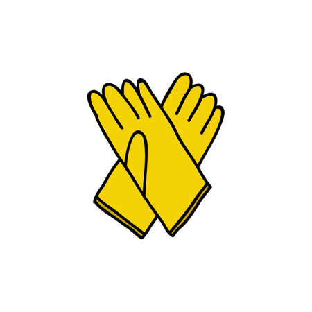 rubber gloves doodle icon, vector color illistration