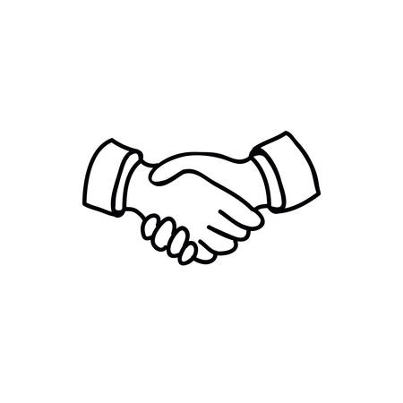 handshake doodle line icon, vector color illistration  イラスト・ベクター素材